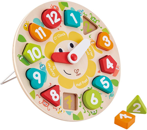 chunky clock puzzle game hape multicolor shape shapes time learning education educational development numbers babies toddlers durable safe movable stand fun matching ages 2+