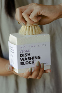 zero waste dish washing block no tox life 7.5oz dishwashing clearning powerhouse rich sudsy lather grime grease dishes pots pans gentle unscented fragrance free home laundry jars spot clean carpet counters multipurpose environmental vegan soap organic kitchen dish soap