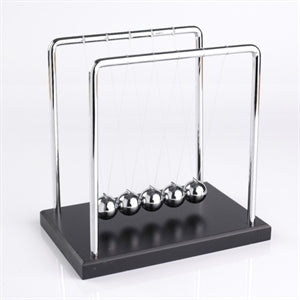 newton's cradle tradeopia classic desktop toy popular physics swing newton's law conservation momentum energy sleek stylish appearance educational entertaining function gift students science scientists decoration decor home office kinetic ages 12+