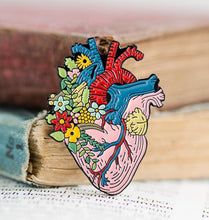 Load image into Gallery viewer, Heart with Flowers Pin