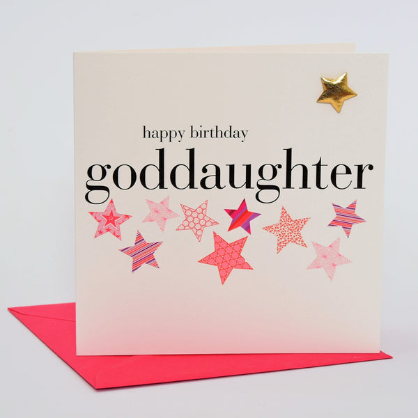 Birthday Card, Goddaughter, Pink Stars, Embellished with a shiny padded star