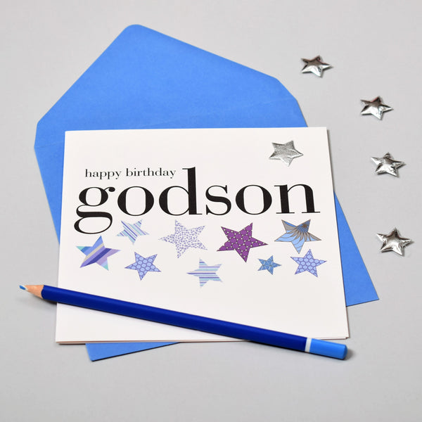 Birthday Card, Godson, Blue Stars, Embellished with a shiny padded star