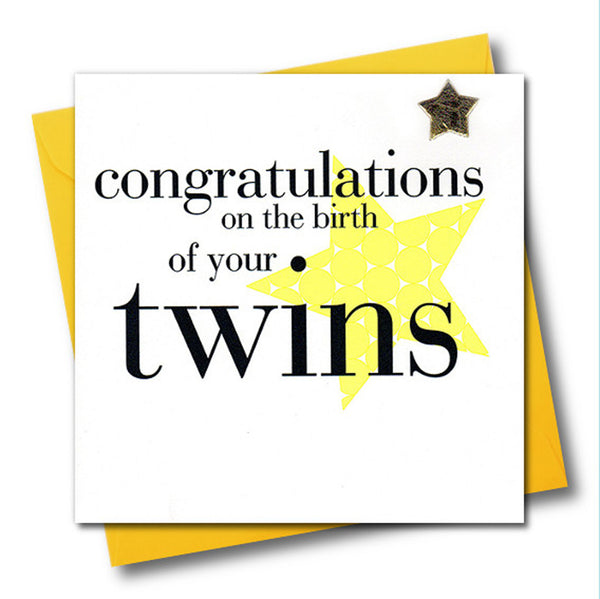 Congratulations on the birth of your Twins, Embellished with a shiny padded star