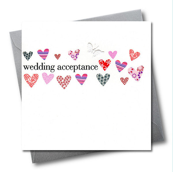 Wedding Card, Hearts, Wedding Acceptance, embellished with a fabric butterfly