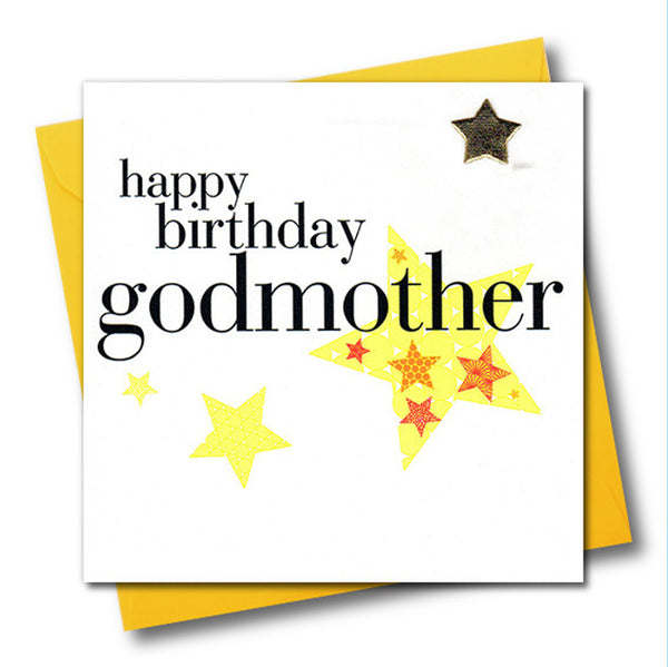 Birthday Card, Godmother, Yellow Stars, Embellished with a padded star