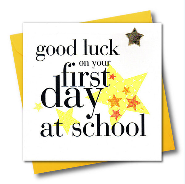 Good Luck Card, 1st Day of School, padded star embellished