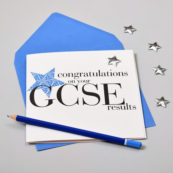 Congratulations on your GCSE results, Blue Star Embellished with a padded star