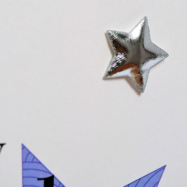 Birthday Card, Godfather, Blue Stars, Embellished with a padded star