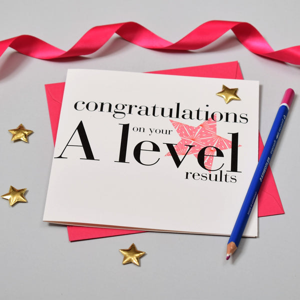 Congratulations Card, A Level results, Pink, Embellished with a padded star