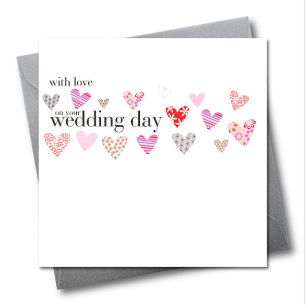 Wedding Card, Love Hearts, Eembellished with a fabric butterfly