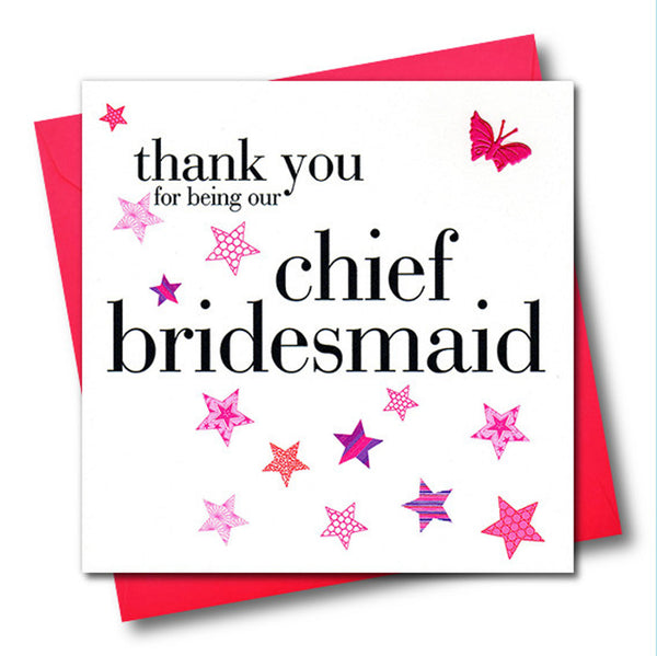 Wedding Card, Pink Stars, Chief Bridesmaid, embellished with a fabric butterfly