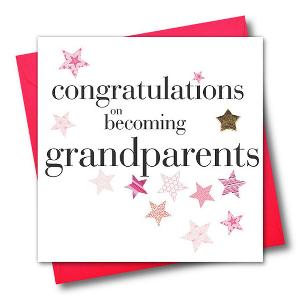Congratulations Card, Pink, Grandparents, Embellished with a padded star