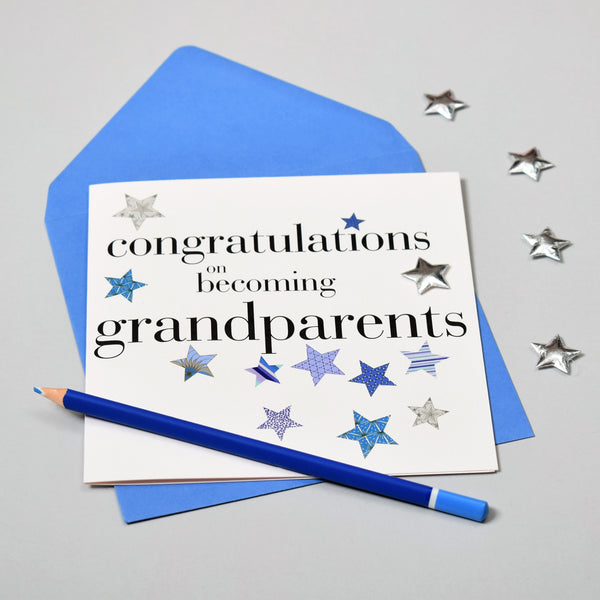 Congratulations Card, Blue, Grandparents, Embellished with a padded star