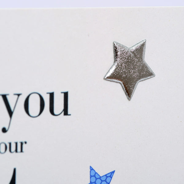 Wedding Card, Blue Stars, Thank you Best Man, Embellished with a padded star