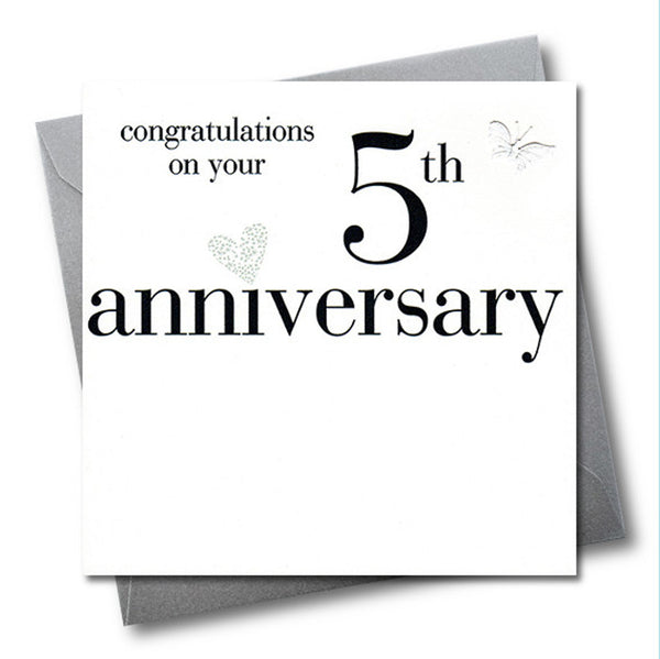 5th Wedding Anniversary Card, Congratulations, fabric butterfly Embellished