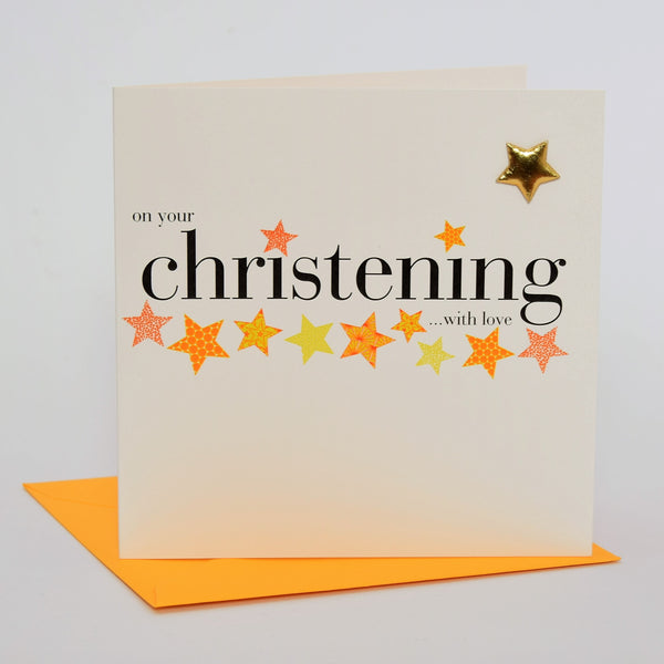 Christening Card, with love, Embellished with a padded star