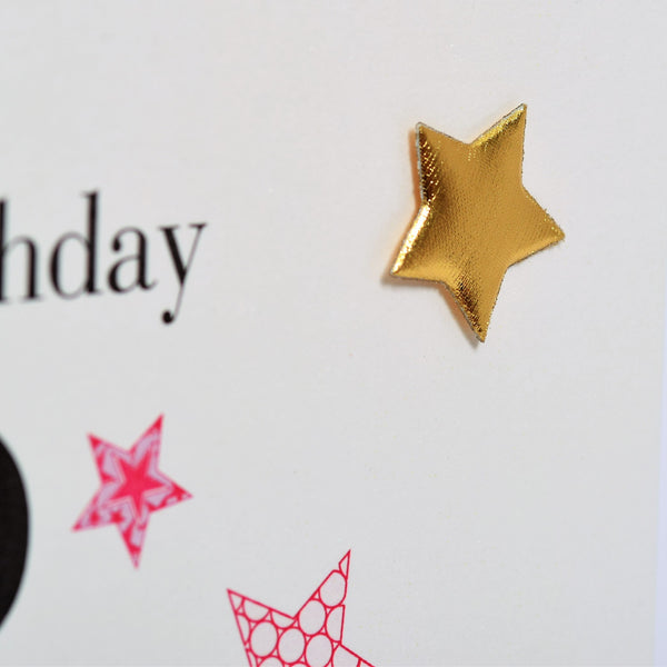 Birthday Card, Step Mum, Pink Stars, Embellished with a padded star