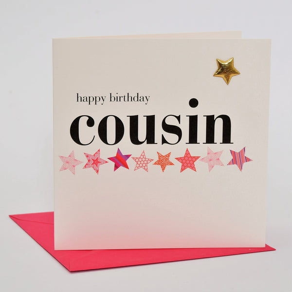 Birthday Card, Pink Star, Happy Birthday Cousin, Embellished with a padded star
