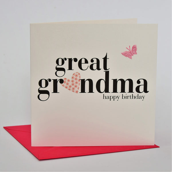 Birthday Card, Heart, Great Grandma happy birthday, fabric butterfly Embellished