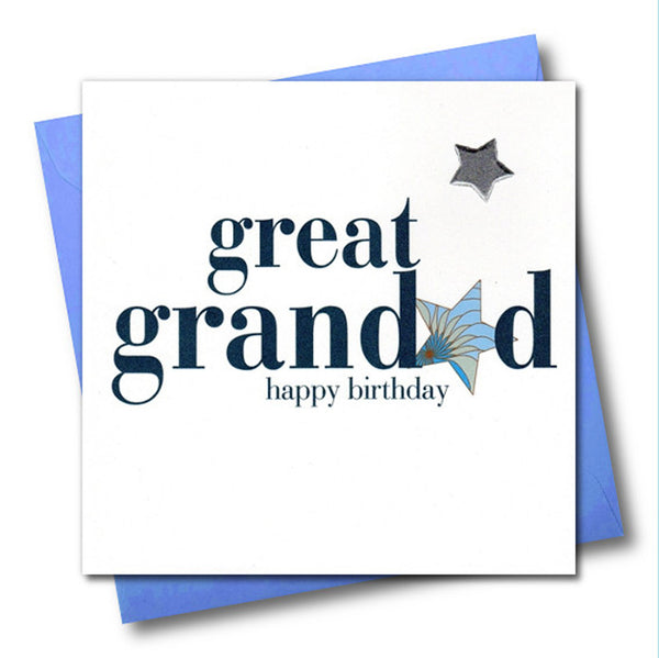 Birthday Card, Great Grandad, Blue Star, Embellished with a padded star