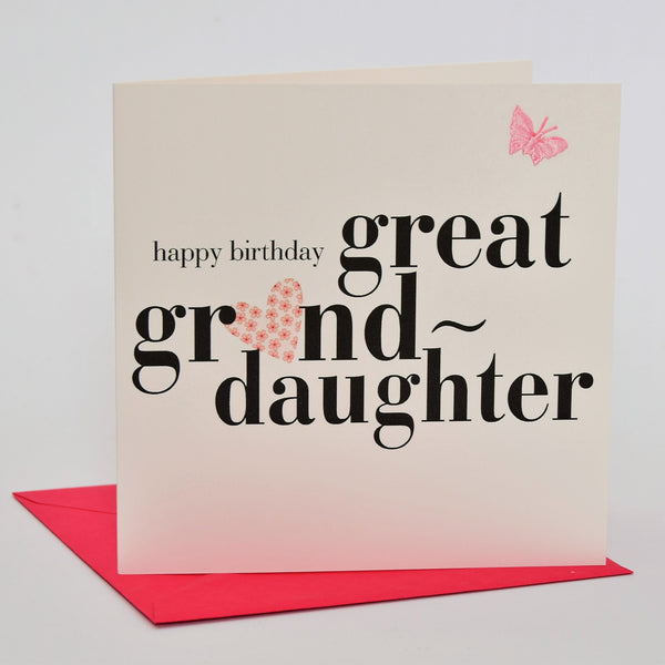 Birthday Card, Heart, great granddaughter, fabric butterfly Embellished
