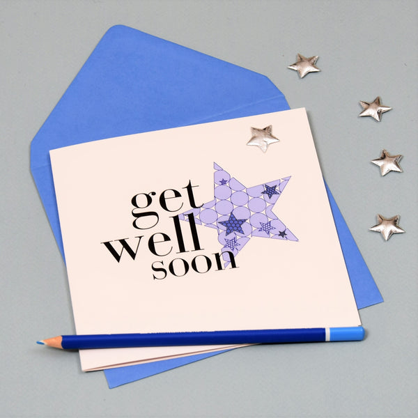 Get Well Card, Blue Star, Get Well Soon, Embellished with a shiny padded star