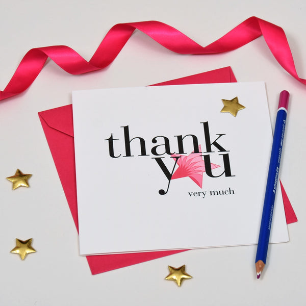 Thank You Card, Pink Star, Thank You Very Much, Embellished with a padded star