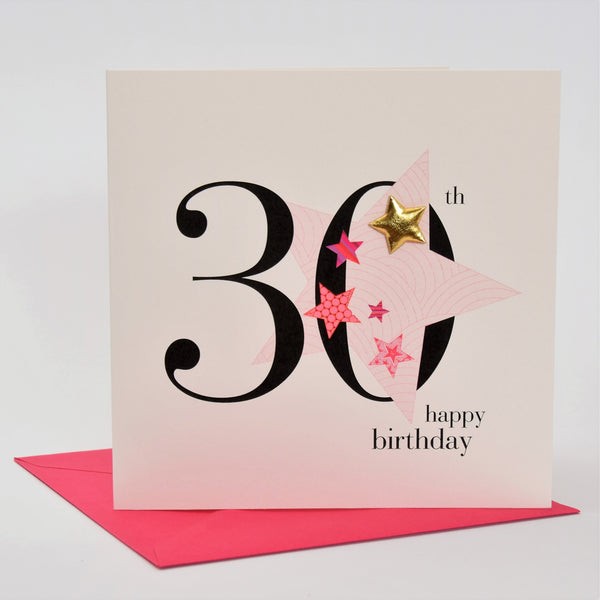 Birthday Card, Pink Star, Happy 30th Birthday, Embellished with a padded star