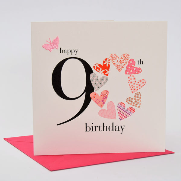 Birthday Card, Pink Hearts, Happy 90th Birthday, fabric butterfly Embellished