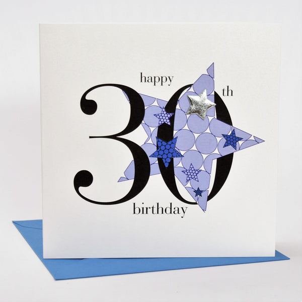Birthday Card, Blue Star, Happy 30th Birthday, Embellished with a padded star