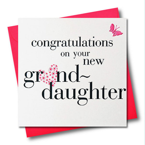 Congratulations on your Granddaughter Card, Pink, fabric butterfly Embellished