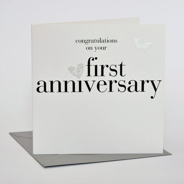 1st Wedding Anniversary Card, Silver Heart, fabric butterfly Embellished