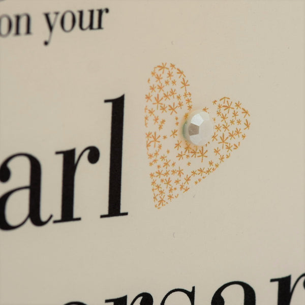 Wedding Card, Gold Heart, Congratulations on your pearl Anniversary