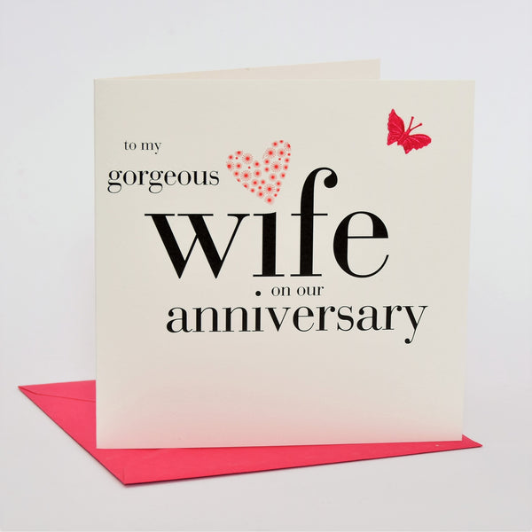 Wife Wedding Anniverary Card, Pink Heart, fabric butterfly Embellished