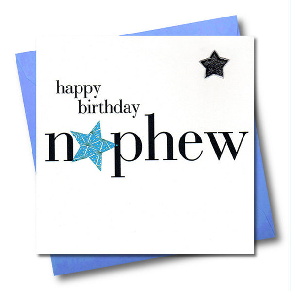 Birthday Card, Blue Star, Happy Birthday Nephew, Embellished with a padded star