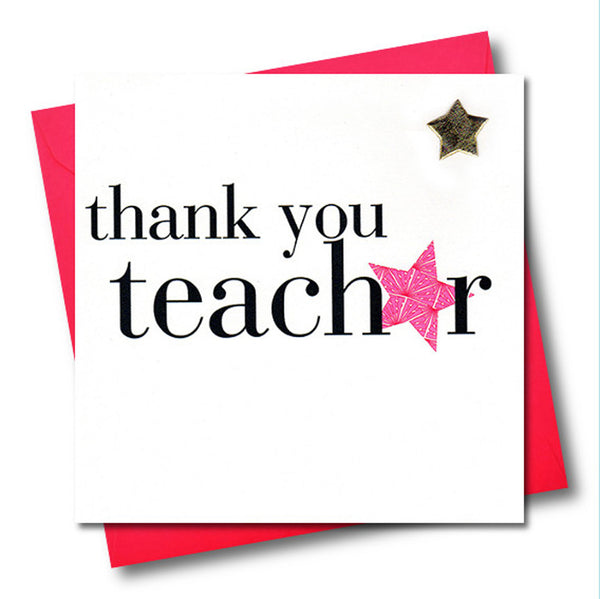 Thank You Card, Pink Star, Thank you teacher, Embellished with a padded star