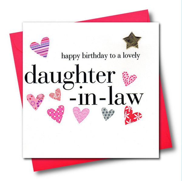 Birthday Card, Pink Hearts, daughter-in-law, Embellished with a padded star