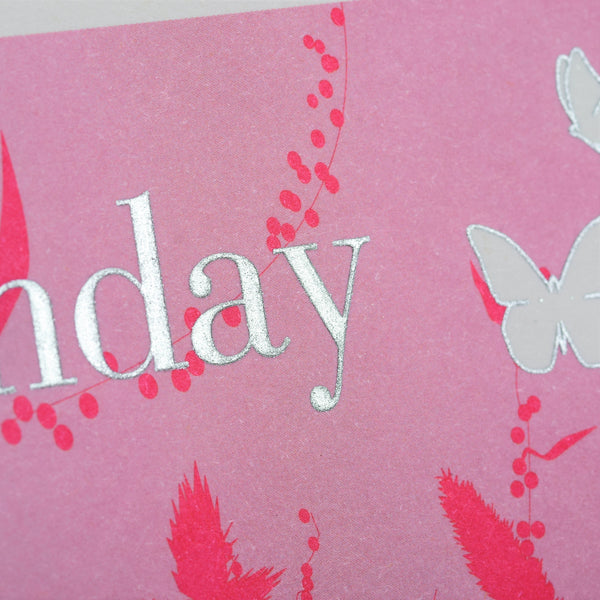 Birthday Card, Pink, Butterflies in grass, Embossed and Foiled text