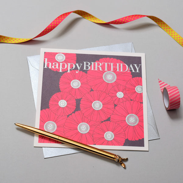 Birthday Card, Button flowers, Happy Birthday, Embossed and Foiled text