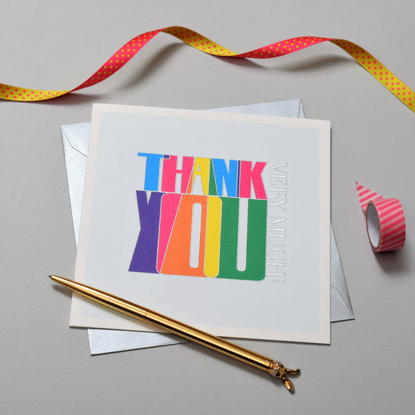 Thank You Card, Bold, Thank You Very Much, Embossed and Foiled text