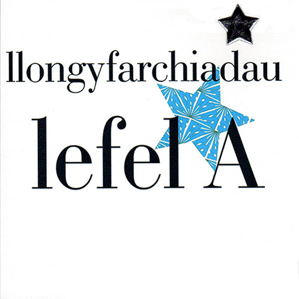 Welsh A Level Results Congratulations Card, Blue Stars padded star embellished