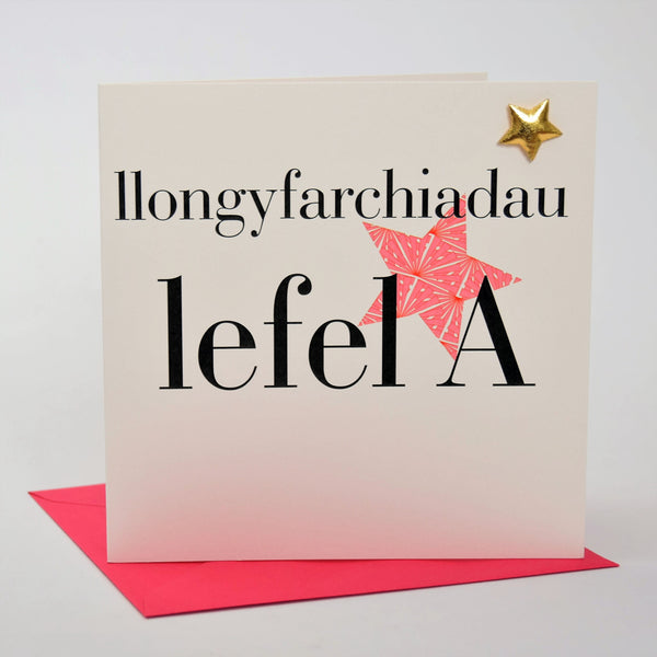 Welsh A Level Results Congratulations Card, Pink Stars padded star embellished