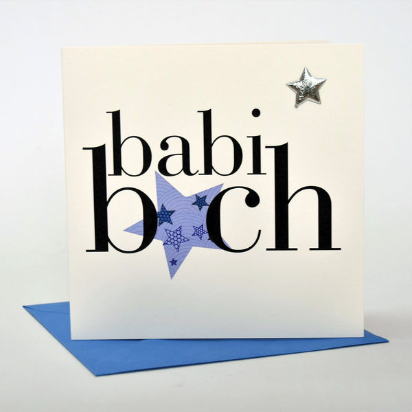 Welsh Baby Card, Babi Bach, Baby Boy - Silver Star, padded star embellished