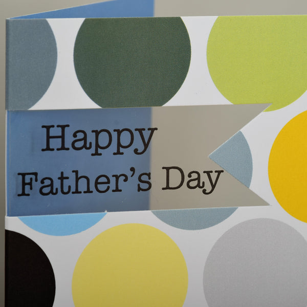 Father's Day Card, Colourful Dots, See through acetate window
