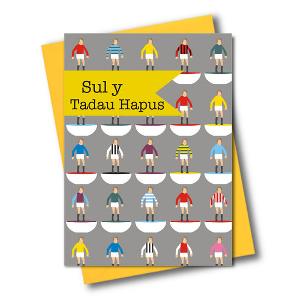 Welsh Father's Day Card, Sul y Tadau Hapus, Subbuteo, See through acetate window