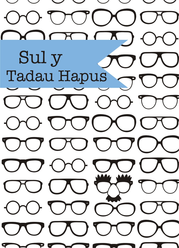 Welsh Father's Day Card, Sul y Tadau Hapus, Glasses, See through acetate window