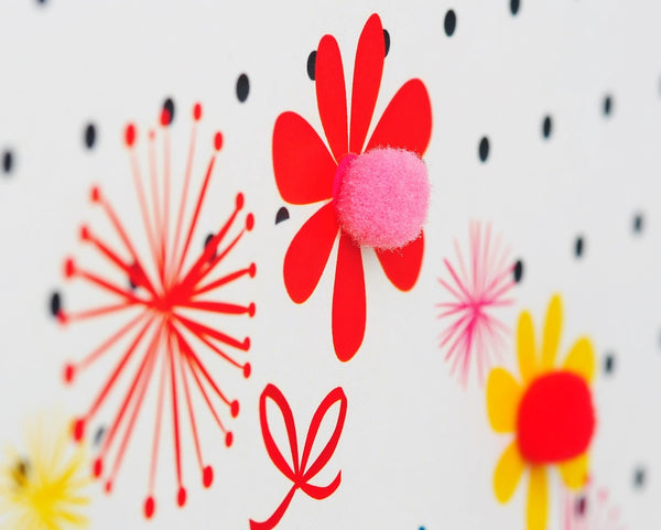 Brithday Card, Flowers and Dotty Background, Embellished with pompoms