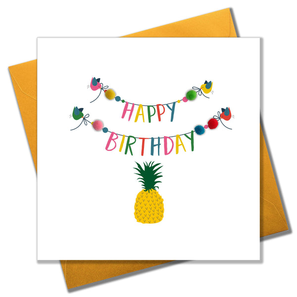 Brithday Card, Birdies, Bunting and Pineapple, Embellished with pompoms