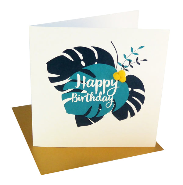 Everyday Card, Trapical Leaves, Happy Birthday , Embellished with pompoms