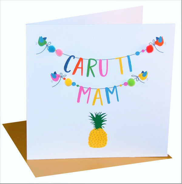 Welsh Mother's Day Card, Sul y Mamau Hapus, Mam, Pineapple, Pompom Embellished